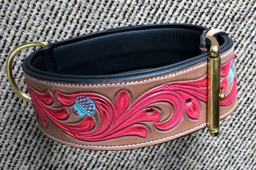Hand Carved and Colorfully Painted Dog Collar